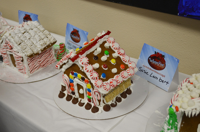 Susie Lambert's entry in the gingerbread house competition sits on display at WinterFest, Dec. 14, 2013. (Ginger Meurer/Las Vegas Review-Journal)