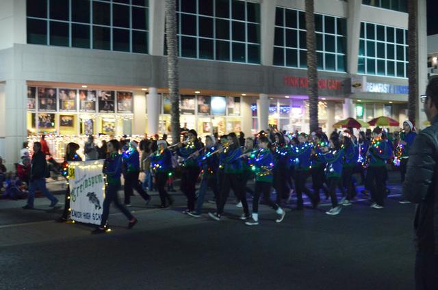 Greenspun Junior High School's band marches in the Henderson WinterFest evening parade Dec. 14, 2013. (Ginger Meurer/Las Vegas Review-Journal)