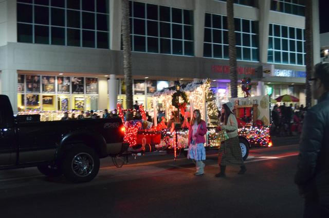 A festive float coasts down Water Street during the Henderson WinterFest nighttime parade, Dec. 14, 2013. (Ginger Meurer/Las Vegas Review-Journal)