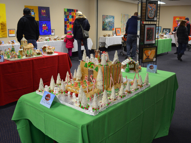 Dooley Elementary School's entry in the Henderson WinterFest gingerbread house competition is decked out in coated ice cream cone trees. Dec. 14, 2013. (Ginger Meurer/Las Vegas Review-Journal)