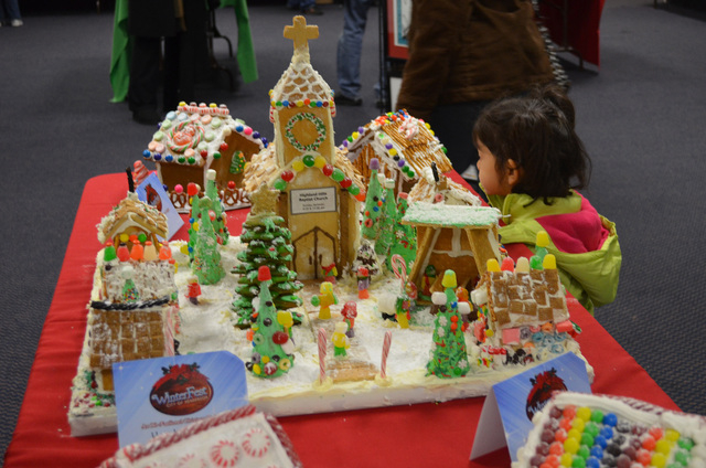 The Highland Hills Baptist Church is depicted in gingerbread at Henderson WinterFest, Dec. 4, 2013. (Ginger Meurer/Las Vegas Review-Journal)