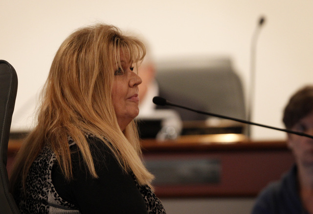 Chief Family Court Judge Gloria O'Malley testifies at the disciplinary hearing of Family Court Judge Steven Jones in Las Vegas Wednesday, Dec. 4, 2013. (John Locher/Las Vegas Review-Journal)