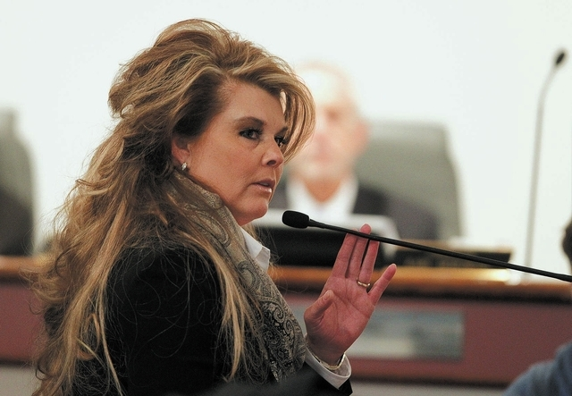 Lisa Willardson testifies at the disciplinary hearing of Family Court Judge Steven Jones on Wednesday. (John Locher/Las Vegas Review-Journal)