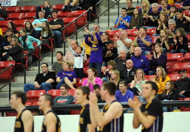 University of Wisconsin Stevens Point fans cheer their team as they play against Whitworth University during the D3hoops.com Classic at the South Point hotel-casino in Las Vegas Saturday, Dec. 28, ...