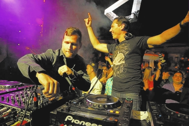 Tiesto DJs Sunday at Hakkasan. Kaskade DJs Tuesday at XS. In this courtesy photo from last year, they teamed up for a moment at XS.