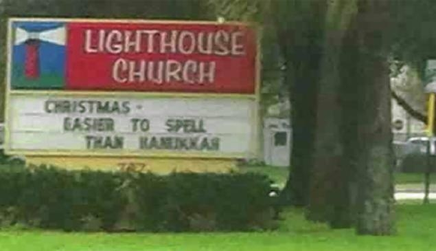 """A sign reading """"Christmas - easier to spell than Hanukkah"""" ruffled feathers in a Florida town this holiday season. Pastors have to be careful trying to find the line between funny and insensitive. ..."""