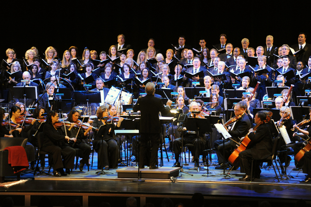 Guest conductor Bob Bernhardt leads the Las Vegas Philharmonic's 2012 holiday concert in The Smith Center's Reynolds Hall. (Courtesy)