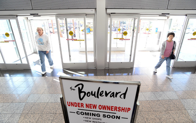 Customers enter the Boulevard Mall on Monday. The shopping center that opened in March 1968, was recently purchased by local buyers, Sansone Companies/Boulevard Ventures, LLC. (David Becker/Las Ve ...
