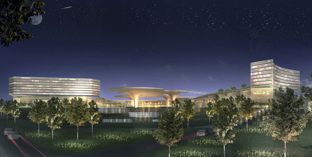 This image provided by Suffolk Downs shows a conceptual design of a proposed casino development by Mohegan Sun in Revere, Mass. (AP Photo/Suffolk Downs)