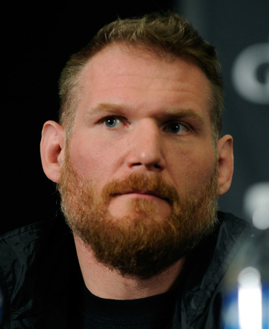 MMA fighter Josh Barnett attends the UFC 168 news conference at the MGM hotel-casino on Thursday, Dec. 26, 2013.Barnett will fight Travis Browne during a heavyweight bout on Saturday at the MGM Gr ...