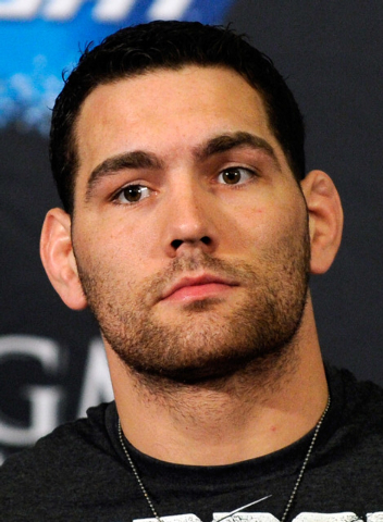 MMA fighters Chris Weidman attends the UFC 168 news conference at the MGM hotel-casino on Thursday, Dec. 26, 2013. Weidman will defend his middleweight title from Anderdson Silva during Saturday's ...