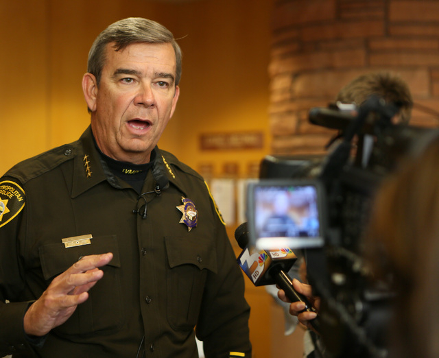 Clark County Sheriff Doug Gillespie speaks to the media after addressing the Clark County Board of Commissioners about More Cops, which is a potential sales tax increase designed for the purpose o ...