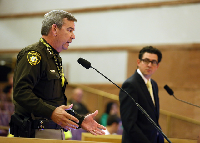 Clark County Sheriff Doug Gillespie speaks to the Clark County Board of Commissioners about More Cops, which is a potential sales tax increase designed for the purpose of employing and equipping m ...