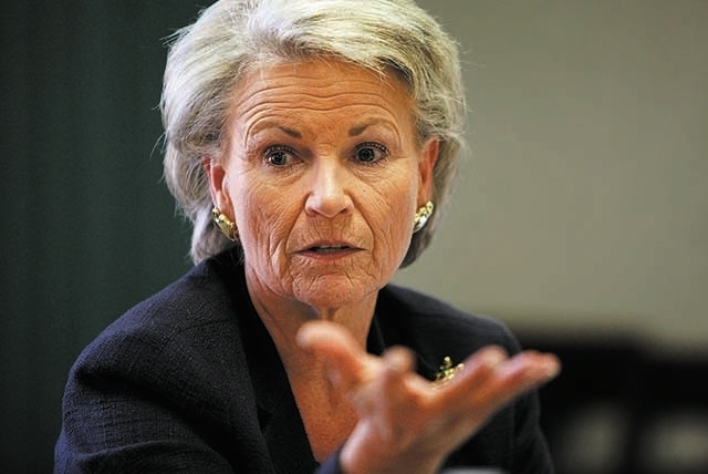 Pat Mulroy, general manager of the Southern Nevada Water Authority, speaks with the Las Vegas Review-Journal editorial board at the paper in Las Vegas Tuesday, Sept. 24, 2013. (John Locher/Las Veg ...
