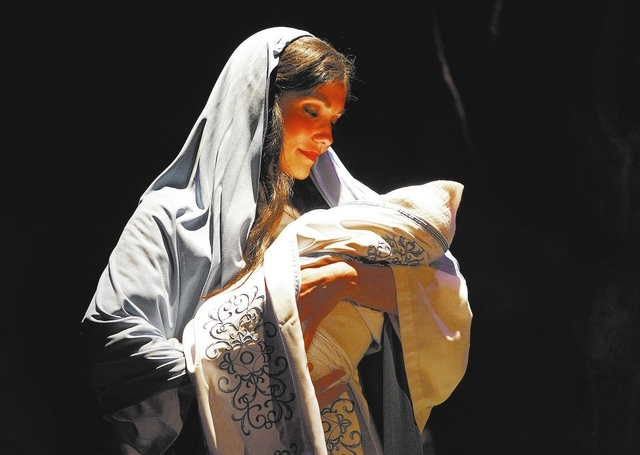 Katherine Brian plays Mary in a live nativity performance at the Opportunity Village on South Buffalo Drive in Las Vegas Tuesday, Dec. 10, 2013. The 25 minute performance is free and runs from Dec ...