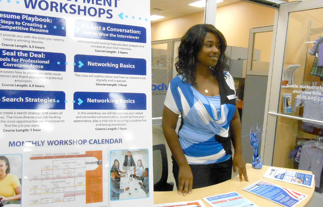 Akita McCulloch, business services specialist with Goodwill of Southern Nevada, greets people Oct. 11 and provides information on Goodwill's Career Connections program. The store at 741 S. Rainbow ...