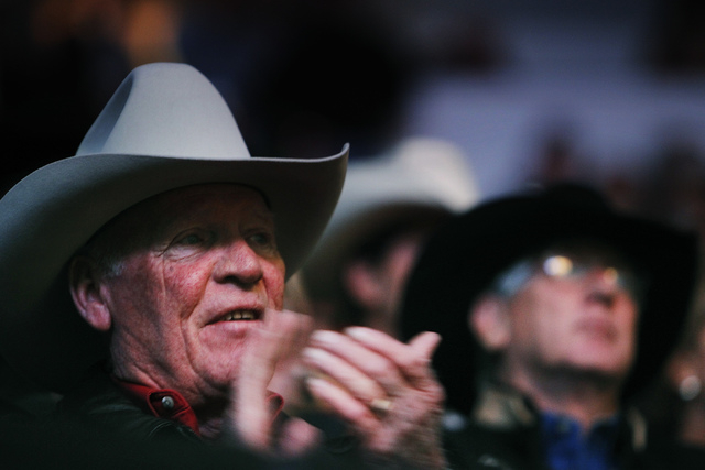 Fans take in the action during day 1 of the Wrangler National Finals Rodeo at the Thomas and Mack Center in Las Vegas on Dec. 5, 2013. (Jason Bean/Las Vegas Review-Journal)