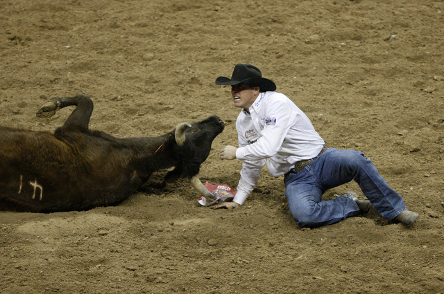 Trevor Knowles celebrates after making a time of 3.1 seconds in the steer wresting event on the first night of the National Finals Rodeo at the Thomas & Mack Center in Las Vegas Thursday, Dec. 5,  ...