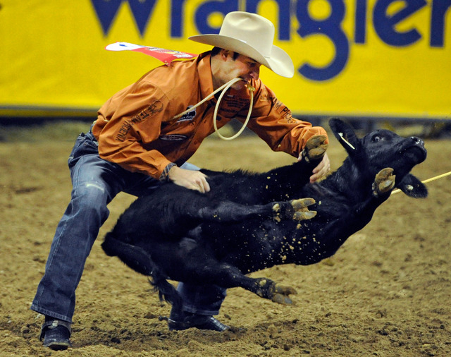 Shane Hanchey ties down his calf during the fourth round at the 55th Wranglers National Finals Rodeo at the Thomas & Mack Center on Sunday. Hanchey is ranked third in the world and had a score of  ...