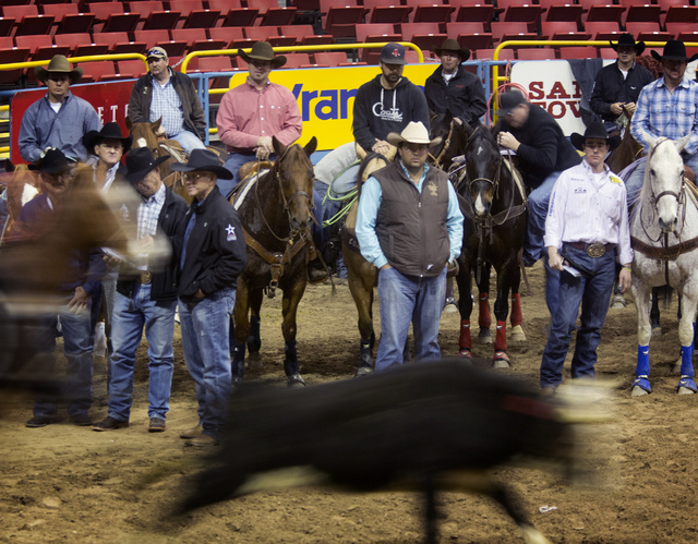 National Finals Rodeo team roping contestants practice on Tuesday at the Thomas & Mack Center. (Jeff Scheid/Las Vegas Review-Journal)