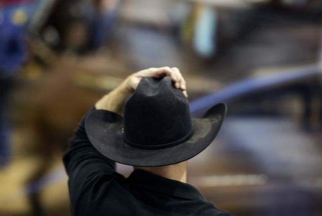 National Finals Rodeo team roper contestant is shown during practice at the Thomas & Mack Center on Tuesday. (Jeff Scheid/Las Vegas Review-Journal)