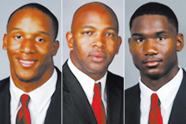 UNLV running back Tim Cornett, assistant coach Cedric Cormier and wide receiver Devante Davis all attended North Shore High in Houston. (Courtesy)