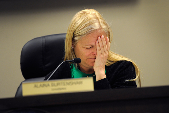 Nevada Public Utilities Commission Chairwoman Alaina Burtenshaw appears during the PUC meeting in Las Vegas Monday, Dec. 16, 2013. The commission approved the sale of the utility to billionaire Wa ...