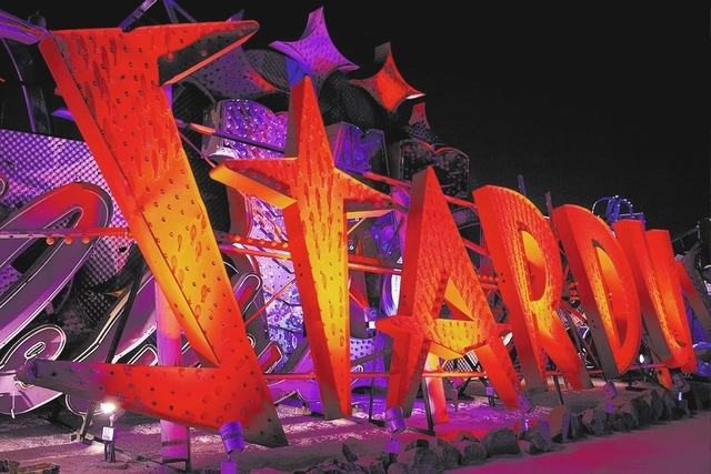 One-hour night tours at the Neon Museum allow visitors to view illuminated iconic signs from Las Vegas casinos. (Special to View)