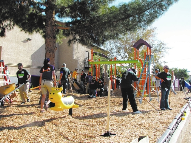 About 230 volunteers from local and national organizations came together Nov. 16 to build a public playground in one day at C3 Church, 501 N. Mojave Road. (F. Andrew Taylor/View)