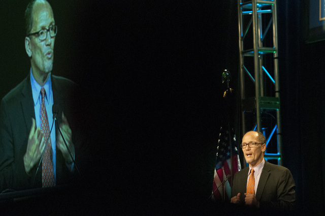 U.S. Secretary of Labor Thomas E. Perez speaks about the economic benefits of providing a path to earned citizenship to undocumented immigrants currently living in the United States during the Int ...