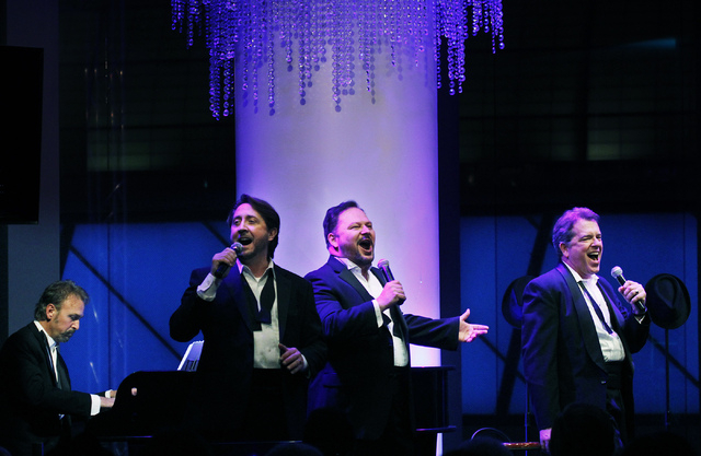 Members of the Phat Pack, from left, pianist Philip Fortenberry, Kevan Patriquin, Randal Keith, and Bruce Ewing perform in the Windows Showroom at Bally's in Las Vegas on Dec. 11, 2013. (Jason Bea ...