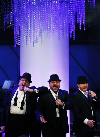 Members of the Phat Pack, from left, Bruce Ewing, Randal Keith, and Kevan Patriquin perform in the Windows Showroom at Bally's in Las Vegas on Dec. 11, 2013. (Jason Bean/Las Vegas Review-Journal)