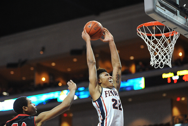 Findlay Prep basketball player Kelly Oubre goes in for a dunk against the Prime Prep Academy defense during the Tarkanian Classic held at the Orleans Arena in Las Vegas Friday, Dec. 20, 2013. Prim ...