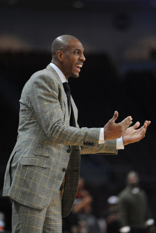Findlay Prep head coach Jerome Williams argues a call during their game against Prime Prep Academy at the Tarkanian Classic held at the Orleans Arena in Las Vegas Friday, Dec. 20, 2013. Prime Prep ...
