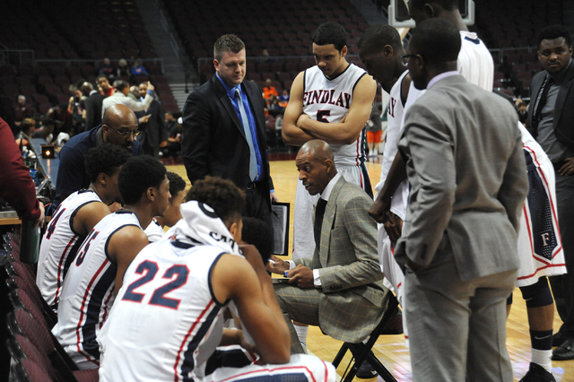 Findlay Prep head coach Jerome Williams draws up a play during their game against Prime Prep Academy at the Tarkanian Classic held at the Orleans Arena in Las Vegas Friday, Dec. 20, 2013. Prime Pr ...