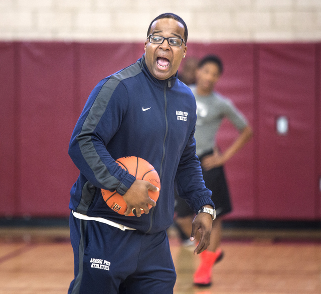 Agassi Prep basketball coach Trevor Diggs, instructs his team at practice on Monday. The former UNLV standout is in his first year as the school's basketball coach. (Jeff Scheid/Las Vegas Review-J ...