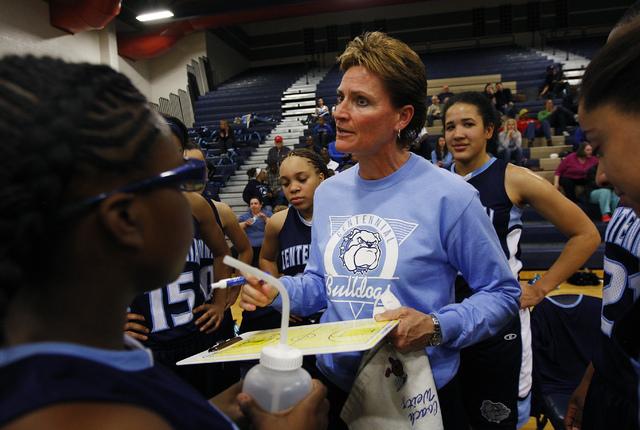 Centennial girl's basketball coach Karen Weitz, middle, leads her team against Shadow Ridge High School in Las Vegas on Dec. 17, 2013. (Jason Bean/Las Vegas Review-Journal)