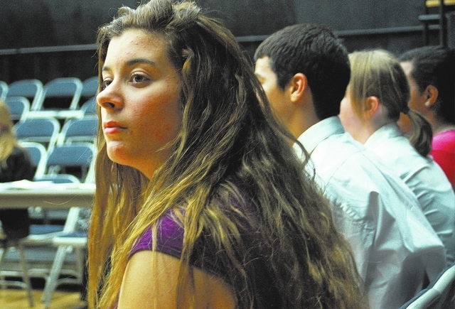 Rachel Tozzi waits to audition for a play at Las Vegas Academy in Las Vegas Wednesday, Oct. 30, 2013. Tozzi is deaf and is a dance and theater major at the school. (Summer Brother/Las Vegas Review ...