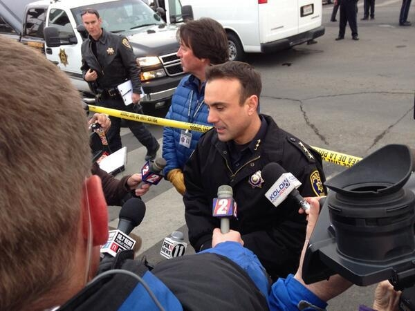 Police address reporters at Renown Regional Medical Center in Reno. Police say a man shot four people, killing one of them, before killing himself on Tuesday. (@MattALush/Twitter)
