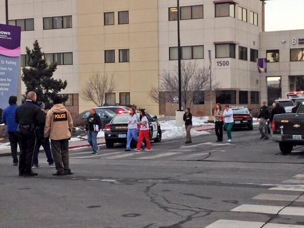 The scene of the shooting at the Center for Advanced Medicine at Renown Regional Medical Center in Reno. Police say a man shot four people, killing one of them, before killing himself on Tuesday.  ...