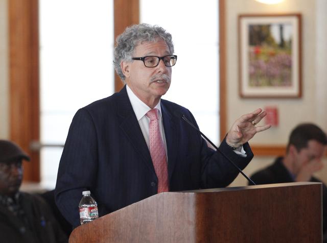 UNLV stadium consultant Mark Rosentraub speaks during a UNLV stadium board hearing at the Foundations Building at the University of Nevada, Las Vegas on Thursday, Dec. 12, 2013. (Chase Stevens/Las ...