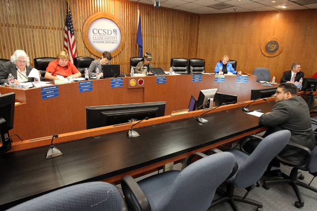 Clark County School Board District D trustee candidate Stavan Corbett, lower right, answers questions during a special board meeting to fill the vacant seat at the Edward A. Greer Education Center ...