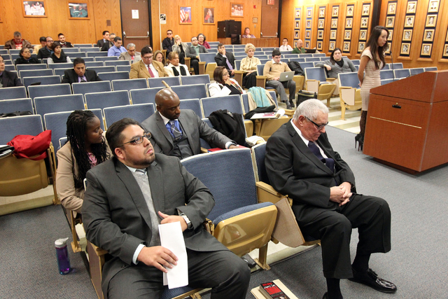 Clark County School Board District D trustee candidates, from left, Tara Raines, Stavan Corbett, Charles M. Ware and William Lucas listen to Lisa Sutton, right, during a special board meeting at t ...