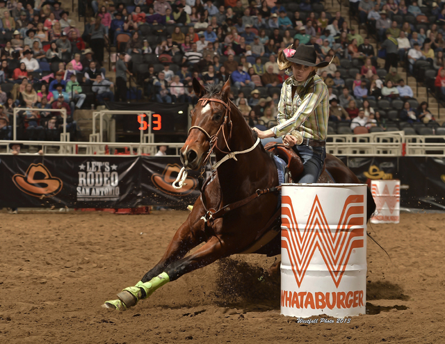 Shada Brazile rides Dial It in the San Antonio Stock Show and Rodeo in February. The wife of Trevor Brazile, who owns 18 world titles and 10 all-around crowns, Shada is competing in her first Nati ...