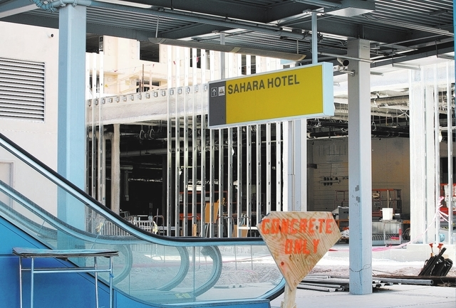 A sign for the Sahara is shown at the new SLS Las Vegas, formerly the Sahara hotel-casino, construction site Monday, Oct. 14, 2013, in Las Vegas. The mixed-use property, which is owned by Chief Ex ...