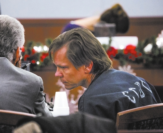 Former Wengert Elementary School teacher Melvyn Sprowson, right, talks to his attorney John Momot while a 16 year old girl cries on the witness stand during testimony in his preliminary hearing at ...