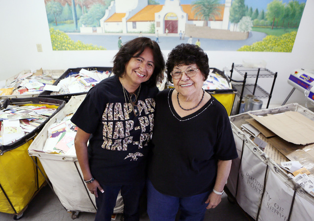 Linda Yowell, left, and Tillie Lucero stand near postal bins full of greeting cards in the mailroom at St. Jude's Ranch for Children in Boulder City. Yowell, who is the transitional living progr ...