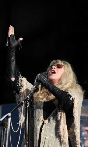 US singer songwriter Stevie Nicks performs at the Hard Rock Calling Festival in London's Hyde Park, Sunday, June 26, 2011. This is the sixth consecutive year of the central London festival. (AP Ph ...