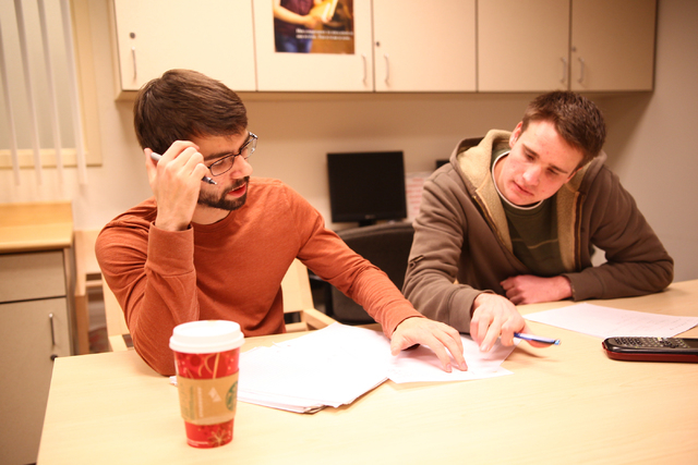 Tutor and mechanical engineering student Jonathan Wright, right, goes over a Calculus 3 problem with sophomore Zakai Olsen, at the Academic Success Center at the University of Nevada, Las Vegas on ...