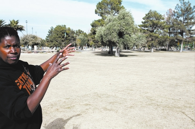 Clark County parks recreation specialist Kim Ehler, gives a tour of  Sunset Park, 2601 E. Sunset Road, as she talks about the layout of Sunset Wonderland in Las Vegas, Tuesday, Dec. 3, 2013. The p ...
